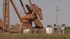 4K UHD 60fps pumpjack counterweight turning slowly - stock footage