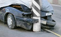 broken crashed car - stock photo