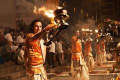 Ganga aarti ritual Stock Photos