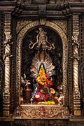 altar in hindu temple - stock photo