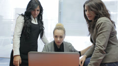 Happy teamwork: business women, office, computer, surprised Stock Footage