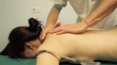 Massage on the shoulders: therapy, cot, neck, physical therapy Stock Footage
