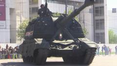 Military War Tanks and Trucks ride Moscow street. Parade. Stock Footage
