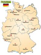 Stock Illustration of map of germany with main cities in pastel orange