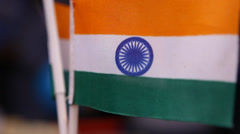 Close-Up Of Miniature Indian Flags Stock Footage