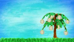Sprouting tree with coin-fruits Stock Footage