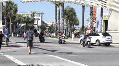 Motor Cycle Ralley - Pier Park Thunder Beach, Panama City Beach Stock Footage