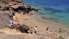 People on the Costa Calma Beach, Fuerteventura, Canary Islands - stock footage