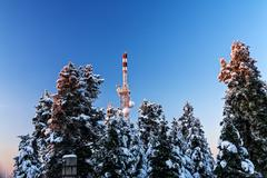 Antenna at mountain Stock Photos