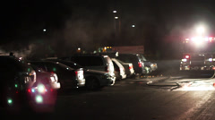 1616 Big Car Fire in Parking Lot with Fire Trucks - stock footage