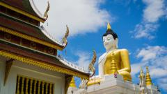 Big Buddha Statue Wat PaHa Temple Of Chiang Mai, Thailand (Time Lapse) Stock Footage