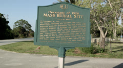 1928 Florida Hurricane Mass Grave Sign Stock Footage