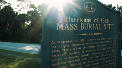 Mass Burial Sign For 1928 Florida Hurricane Stock Footage