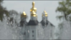 The dome of the ancient Orthodox church city fountain Stock Footage