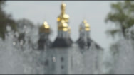 Stock Video Footage of the dome of the ancient Orthodox church city fountain