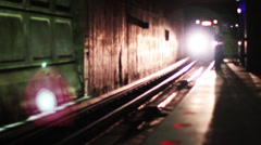1621 Metro Subway Coming Straight On with Light Flare, Going on a Trip Stock Footage