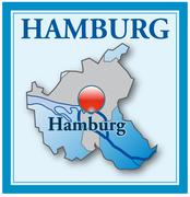 map of hamburg as an overview map in blue - stock illustration