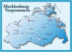 map of mecklenburg-western pomerania as an overview map in blue - stock illustration