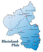 map of rhineland-palatinate as an overview map in blue - stock illustration