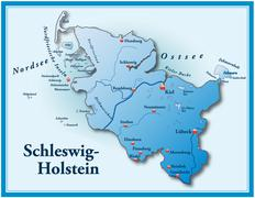 map of schleswig-holstein as an overview map in blue - stock illustration