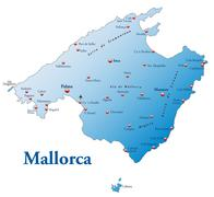 Map of mallorca as an overview map in blue Stock Illustration