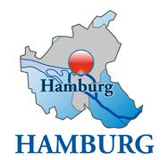 Stock Illustration of map of hamburg as an overview map in blue