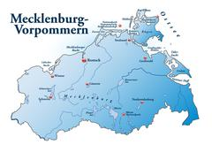 Stock Illustration of map of mecklenburg-western pomerania as an overview map in blue