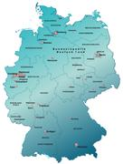 map of germany as an overview map in blue - stock illustration