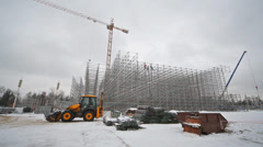 Construction of a big sports ramp on the Exhibition Center Stock Footage