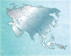 Map of asia as an overview map in blue Stock Illustration