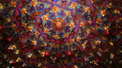 Review whirling kaleidoscope of changing color and shape - stock footage
