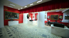 Review exposition with rare things at Museum of the USSR Stock Footage