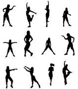 Silhouette of a dancer woman Stock Photos