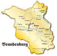 map of brandenburg as an overview map in gold - stock illustration