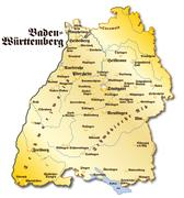 Stock Illustration of map of baden-wuerttemberg as an overview map in gold