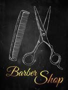 Barber shop Scissors comb Stock Illustration