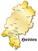 map of hesse as an overview map in gold - stock illustration