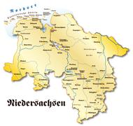 Stock Illustration of map of lower saxony as an overview map in gold