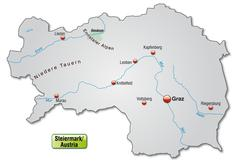 map of styria as an overview map in gray - stock illustration