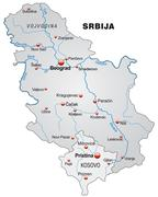 map of serbia as an overview map in gray - stock illustration