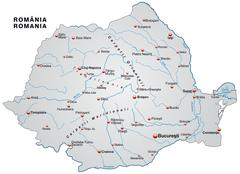 Stock Illustration of map of romania as an overview map in gray