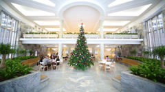 People sitting in hall with a New Year tree. Stock Footage