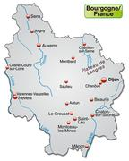map of burgundy as an overview map in gray - stock illustration