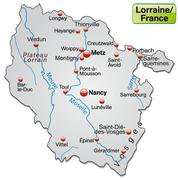 Map of lorraine as an overview map in gray Stock Illustration
