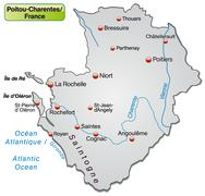Map of poitou-charentes as an overview map in gray Stock Illustration