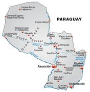 map of paraguay as an overview map in gray - stock illustration