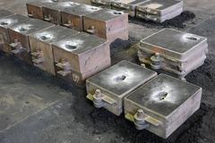 Foundry, sand molded casting, molding flasks Stock Photos