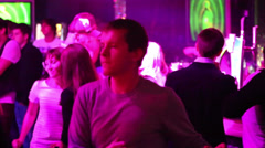 People dance in night club Base during DJ Solovey birthday party - stock footage