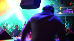 People dance in night club during DJ Solovey birthday party Stock Footage
