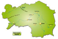 map of styria as an overview map in green - stock illustration